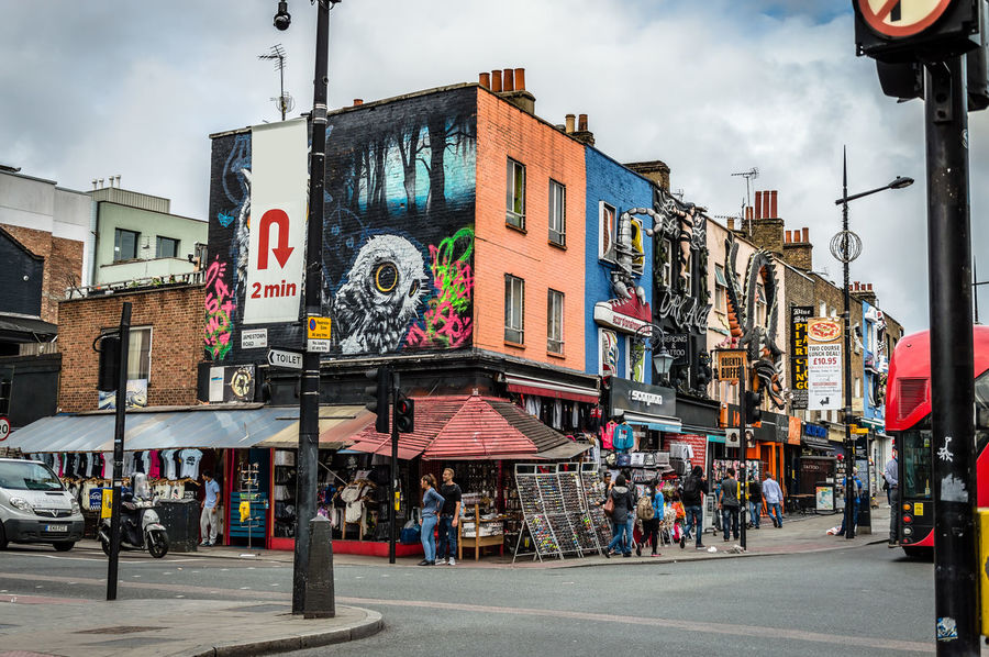 Camden market street a cloudy day with colorful retail shops Architecture Camden Camden Town City City Life Cloudy Commerce Commercial Destination Lifestyles London London Life People Punk Retail  Road Shop Shopping Street Street Fashion Travel Trendy