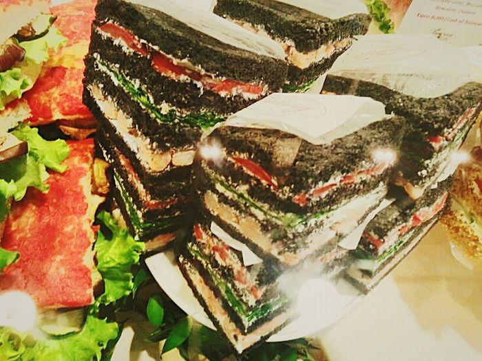 """Black bread and olive spread tramezzini"" @ Milano Centrale / Sandwiches Tramezzini Foodporn Food Porn Food Foods & Drinks Smartphone Photography Eyeemfilter Fresh Italian Food Snacks"