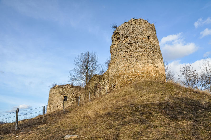 Low angle view of fortress against sky