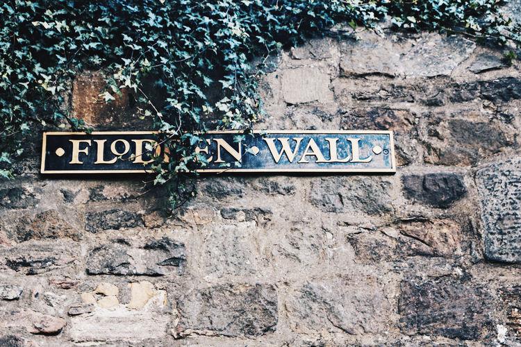 Flodden Wall in Edinburgh Edinburgh Flodden Wall Scotland United Kingdom Built Structure Communication Information Ivy Sign Stone Wall Street Name Sign Street Sign Text Uk