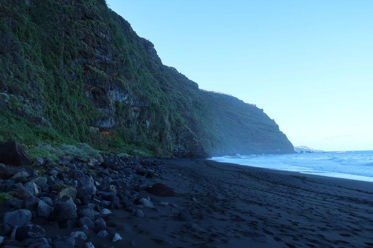Canary Islands Black Sand Las Palmas Black Sand Beach Water Sea Beach Power In Nature Beauty Mountain Summer Blue Rock - Object Coast