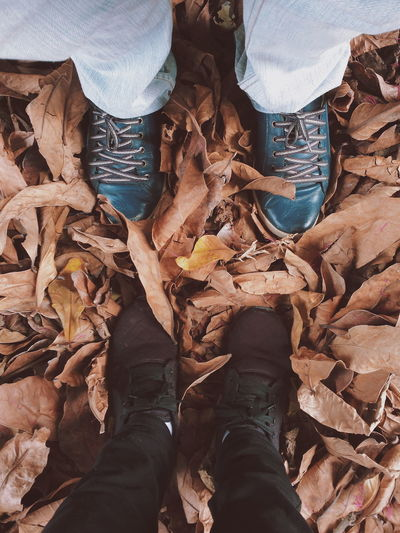 Low section of people standing on autumn leaves