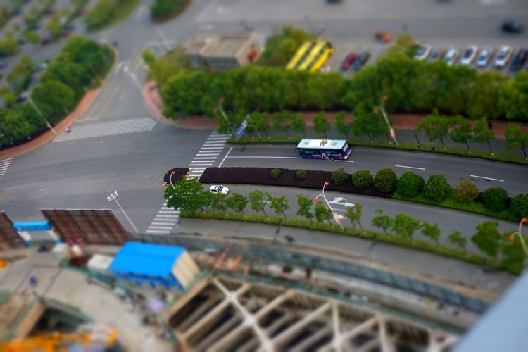 High Angle View Of Vehicle Moving On Road