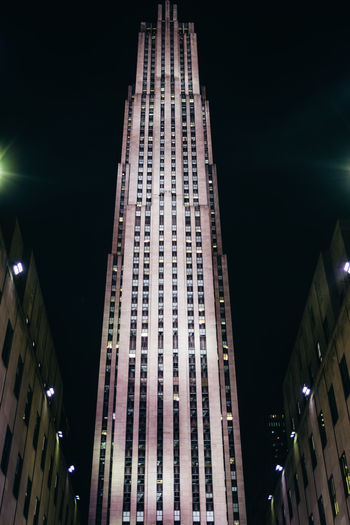 New York Rockefeller Center Architecture Building Building Exterior Built Structure City Illuminated Low Angle View Night Skyscraper Tall - High Tower