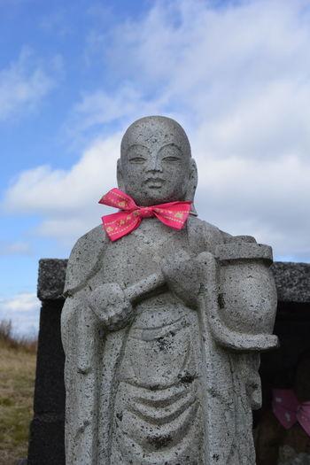Jizo and red ribon Japan Jizo Blue Sky Blue Sky And Clouds Cloud - Sky Jizou Mind  No People Outdoors Prayer Praying Red Ribon Religion Ribon Sinto Sky Statue Stone Material 地蔵 EyeEmNewHere
