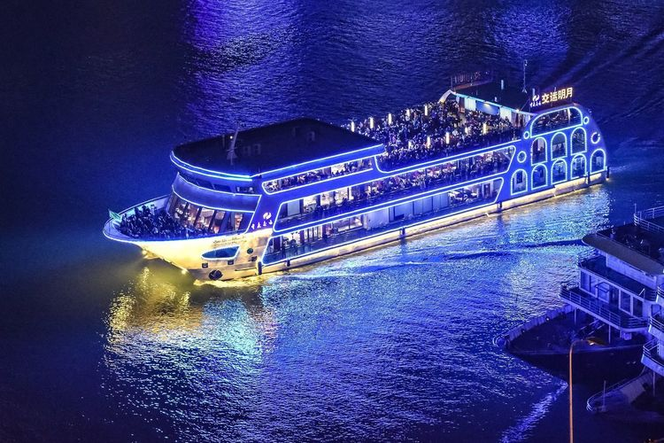 Blue river boat #Blue #boat #river #nikkor24-120mmf4 #NikonD750 #riverboat #chongqing #China  Water Nautical Vessel High Angle View Waterfront Transportation Night Nature Illuminated