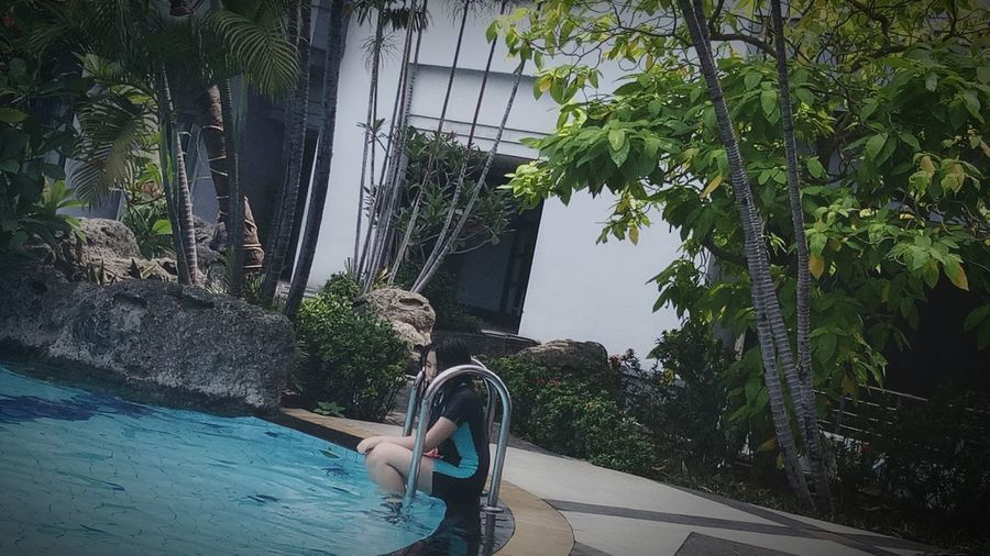 Tropic Swimming Pool Water Tree Outdoors Day Human Body Part People One Person Refraction First Eyeem Photo