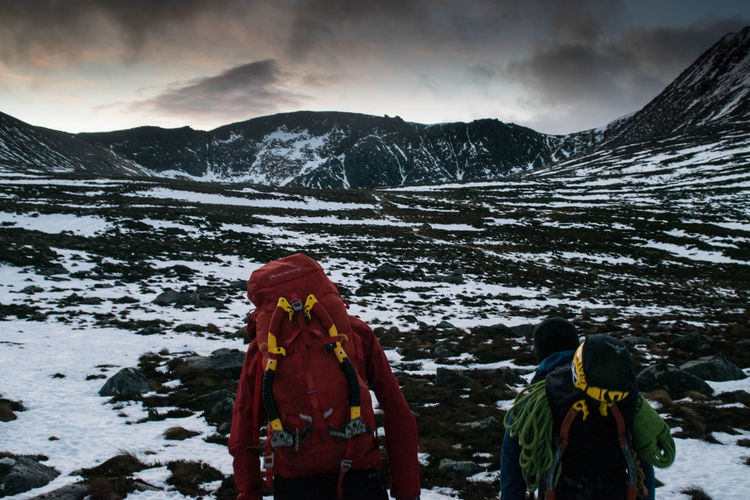 Mountaineering Adventure Backpack Beauty In Nature Climbing Cloud - Sky Cold Temperature Lifestyles Mountain Mountain Range Scottish Highlands Snow Winter Winter Climbing