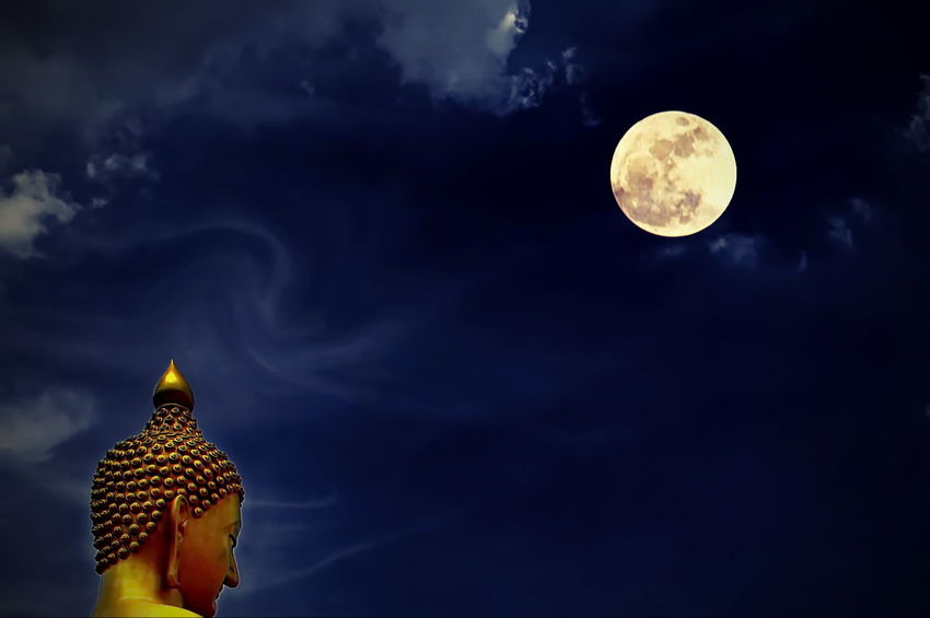 Night On Magha Puja Day. Astronomy Beauty In Nature Close-up Cloud - Sky Full Moon Magha Puja Moon Nature Night No People Outdoors Sky