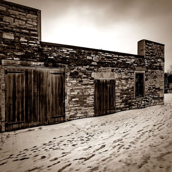 Architecture Black And White Black And White Collection  Close Up Faded High Views Historical Building Light And Shadow Nature No People Old Buildings Old Mill Site Outdoors Reflection River View Riverscape Sepia Sepia_collection Snow Covered Snow Tracks Weathered Stone Weathered Wall Weathered Wood Window Winter