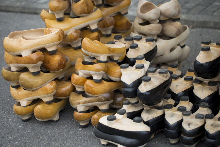 High angle view of shoes for sale on table