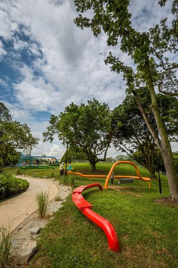 Ribbon Playscape 8 @ Marsiling Park, previously known as Woodlands Town Garden I had a bit of photography fun with this play area back in June 2018. So many swings! :D Bright Colors Public Park Cloud - Sky Day Family Time Hang Out Outdoor Play Equipment Swing