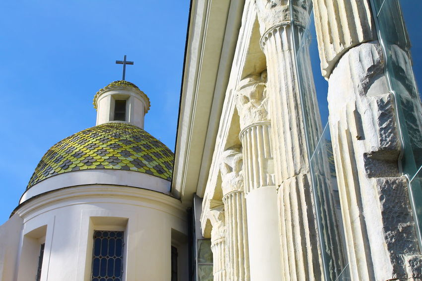 Church in the sun. Architectural Column Architectural Feature Architecture Blue Building Exterior Built Structure Church Day Dome Exterior Façade Gold High Section History History Through The Lens  Low Angle View No People Outdoors Past Pattern Sky Tall - High Travel Travel Destinations Traveling