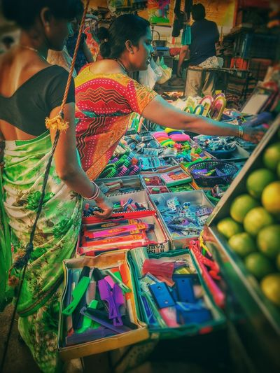 High angle view of people in market