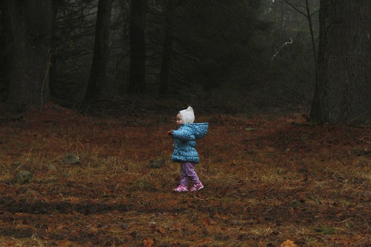Exploring Knittedhat Childhood Child Kids Having Fun Little Girl EyeEm Selects Kids Being Kids Walking On A Mission Bonnet Tones #beautiful Forest Nature_collection Tree Full Length Autumn Standing Foggy Countryside Pine Woodland Woods WoodLand