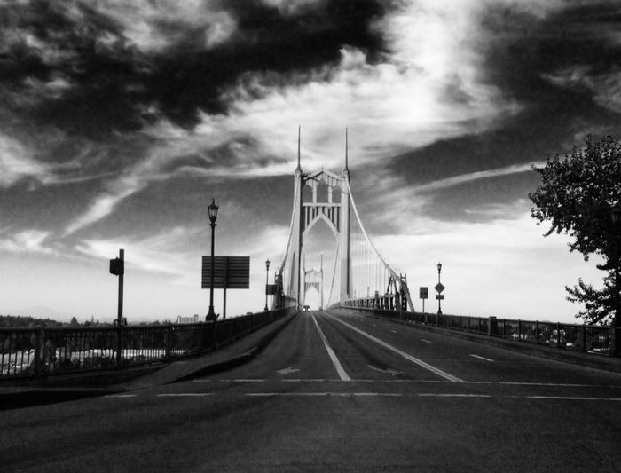 Low Angle View Of St Johns Bridge Against Sky