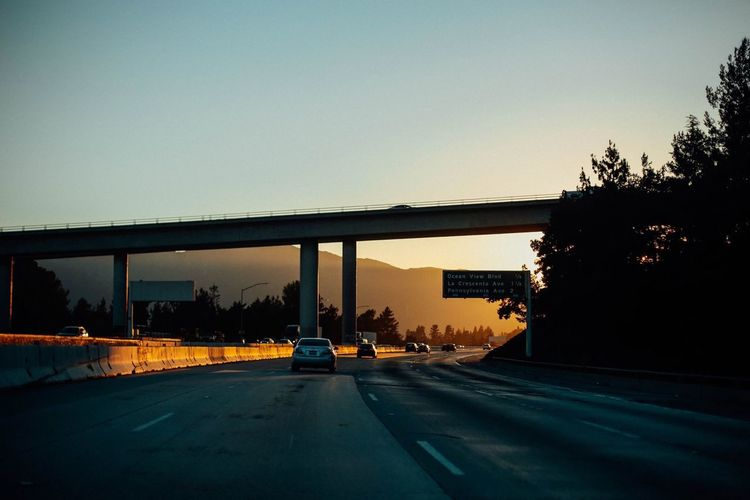 On The Way Freeway Cars Golden Hour Moody Sky Light And Shadow From My Point Of View Drive Fast Lane The Way Forward Bridge 43 Golden Moments