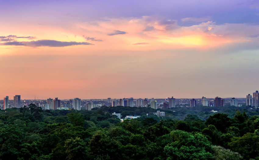 View of trees and buildings against sky during sunset