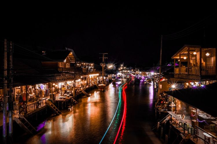 Light trail in canal at night