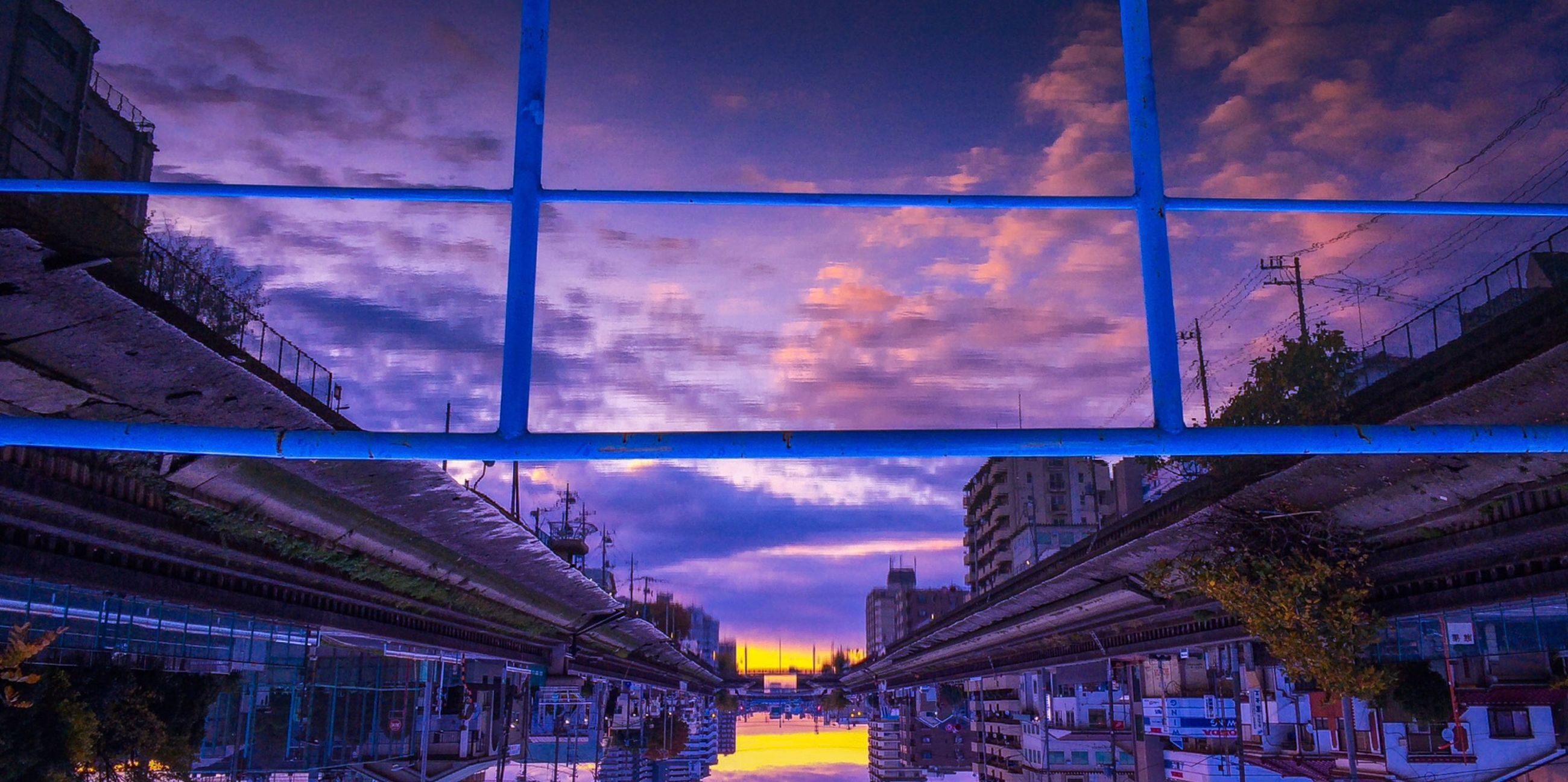 sky, architecture, built structure, building exterior, cloud - sky, cloud, cloudy, reflection, blue, weather, residential structure, window, house, residential building, glass - material, city, low angle view, tree, no people, building