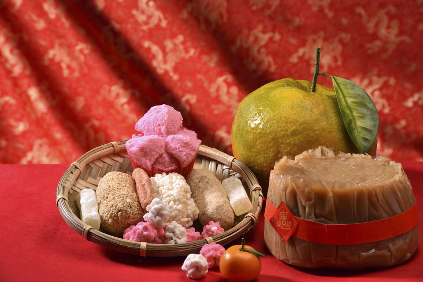 Chinese New Year atmosphere Celebration Congratulations Kung Hei Fat Choi New Year Orange Auspicious Blessing Candy Chinese New Year Close-up Day Festival Food Food And Drink Freshness Happy New Year Healthy Eating Indoors  Joy Joy Of Life No People Red Rice Cake