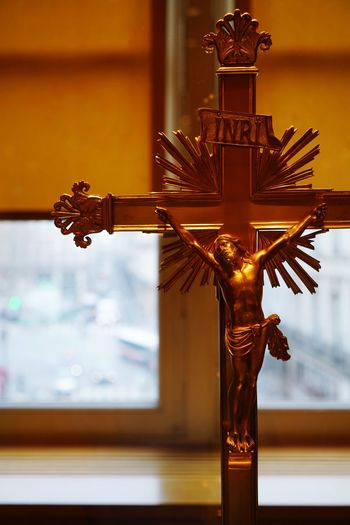 Close-Up Of Crucifix In Church