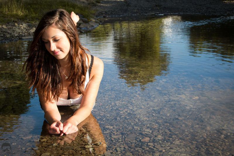 EyeEm Selects Young Women Water Beautiful Woman Portrait Beauty Women Beautiful People Females Summer Lake Stream - Flowing Water Wet Hair Skin Swimwear Wavy Hair