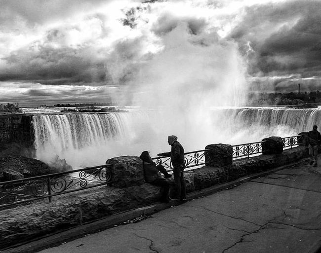 Water Waterfall Motion Power In Nature Long Exposure Outdoors Scenics Nature Spraying Full Length Beauty In Nature Day People Sky One Person Only Men Black And White Niagara Falls Canada Photos The Week On EyeEm