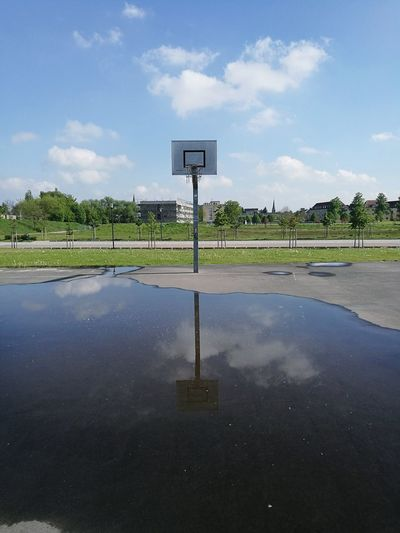 Basketball - Sport Cloud - Sky Sky Basketball Hoop Court Day No People Outdoors Water Goal Post Reflection Water Reflections Water Sport Sun Hobby Huawei P9 Leica Fun