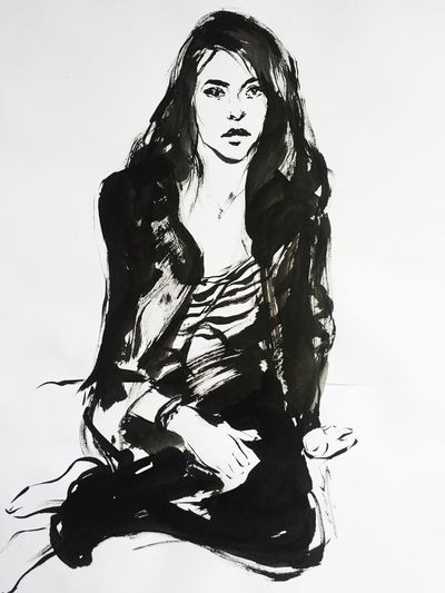 Friend of a friend, quick inkbrush sketch Art Sketch Drawing Indoors  Women Art And Craft Low Angle View Human Representation Fashion Portrait