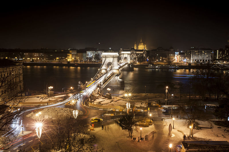 High angle view of illuminated chain bridge over danube river at night