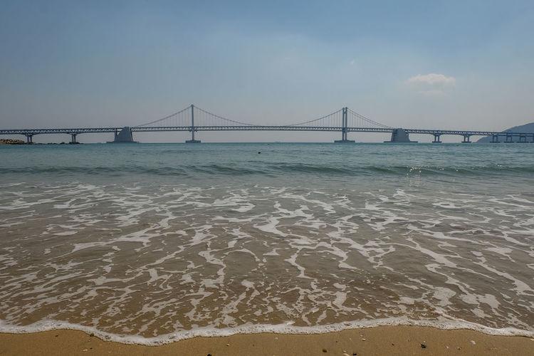 View of bridge on beach