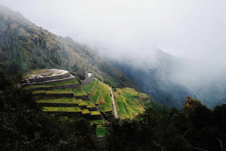 On the Inca Trail Mountain Peru Inca Inca Trail Lost in the Landscape Ancient Civilization Architecture Terraced Field Fog Water Valley Foggy Mountain Range