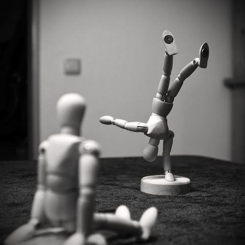 training session Acrobatics  Artistic Artists Blackandwhite Bw Close-up Day Depth Of Field Dolls Dummy Handstand  Indoors  Jointed Doll Monochrome Monochrome Photography No People OneHandStand Table Training Training Session Woody