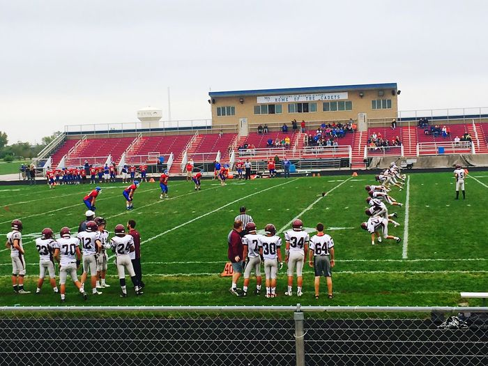 Highschool Football Sport Large Group Of People Grass Green Color Field Playing Competitive Sport