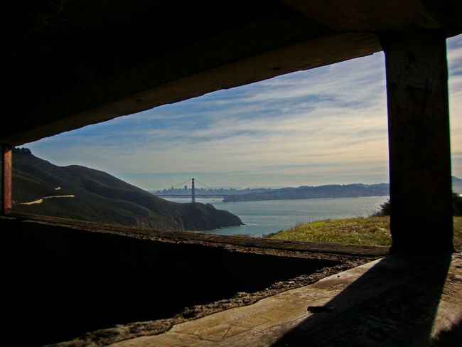 Golden Gate Bridge Marin Headlands Golden Gate Bunker San Francisco Skyline Clouds Pacific Ocean Looking To The Other Side