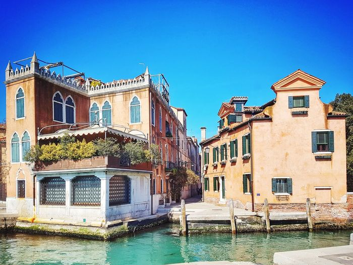 Venice streets Venice Venice, Italy Venezia Italy Veneto Old Buildings Travel Destinations Famous Place House Travel Destinations Famous Place Clear Sky Sky Architecture Building Exterior Residential Structure Residential District Residential Building Building Historic Canal Waterfront