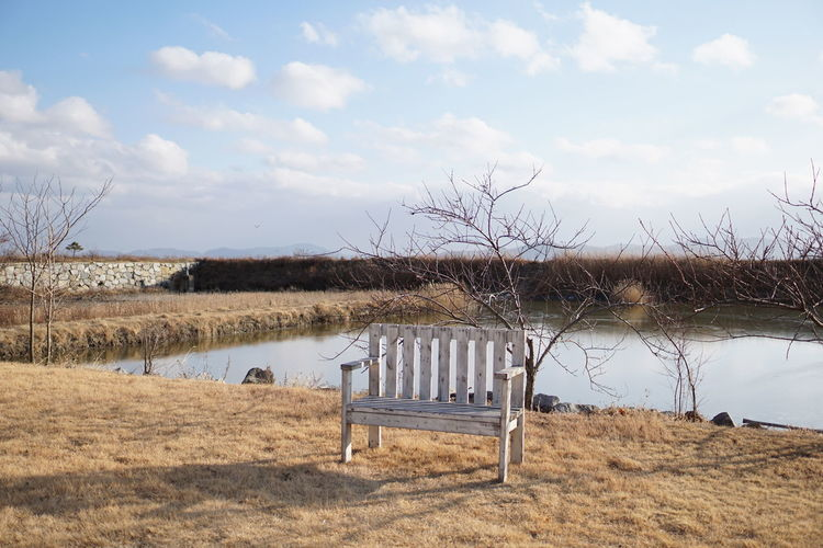 A Water Puddle Chair Dry Leaves Winter Clouds And Sky Lonley Shadow White