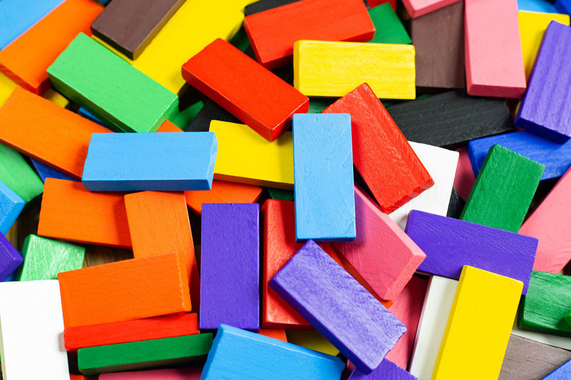 Full frame shot of multi colored toy blocks on table