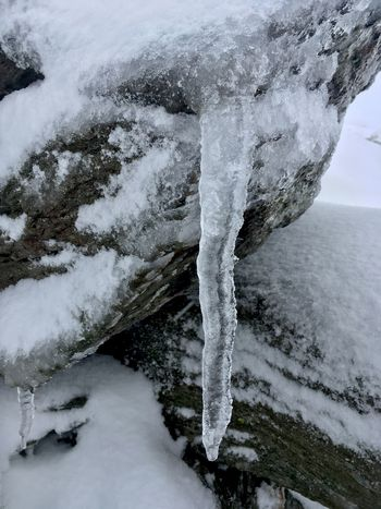 Water Stormy Weather Snowstorm Cold Temperature Freezing No People Icicles Ice Tranquility White Rock Formation Snow Nature Countryside
