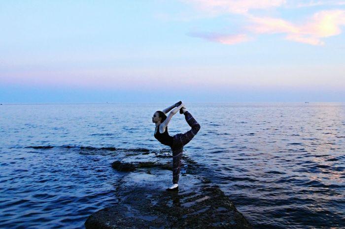 At the edge of the world Seaside Sea Horizon Rocks And Water Gymnastics Woman Summer Sunset Nikon D90 Faces Of Summer