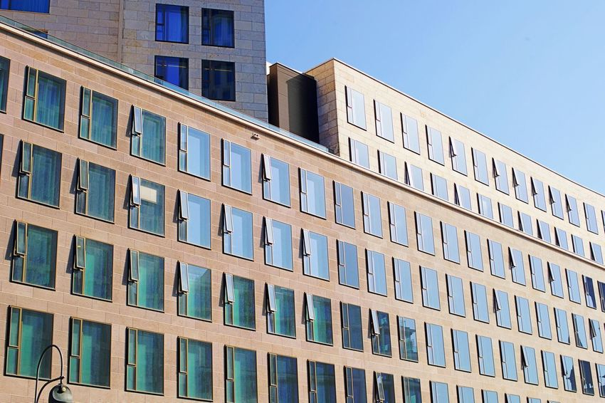 Architecture Blue Building Building Exterior Built Structure City Day Full Frame Glass - Material Low Angle View Modern No People Office Office Building Exterior Sky Sunlight Window