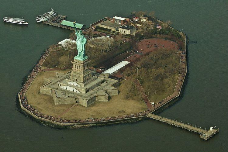 High Angle View Of Liberty Island