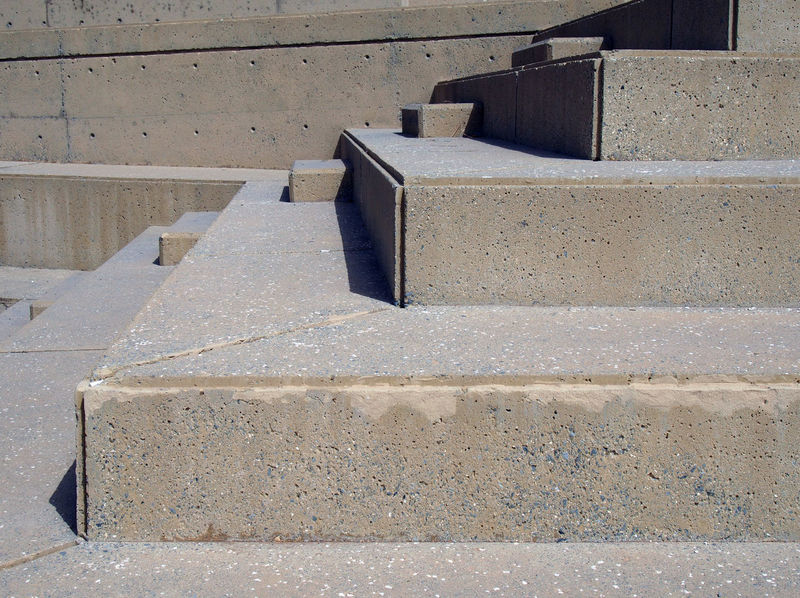 angular concrete steps Architecture Block Block Shape Built Structure Close-up Concrete Concrete Stairs Construction Industry Day In A Row Industry No People Outdoors Pattern Seat Staircase Steps And Staircases Stone Material Sunlight Wall - Building Feature
