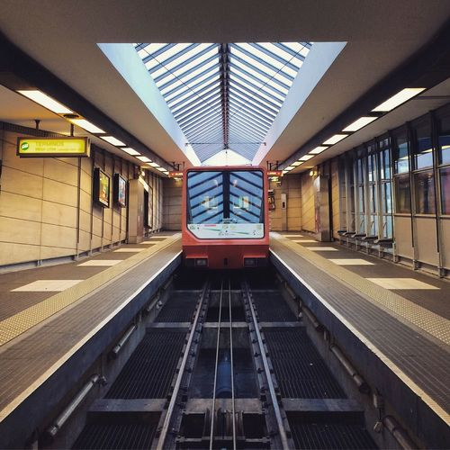 Underground | Architecture Built Structure Modern Indoors  Transportation No People Day Architecture Perspective City Citylife France Lyon Cityscape Symmetry Subway Subway Station Futuristic