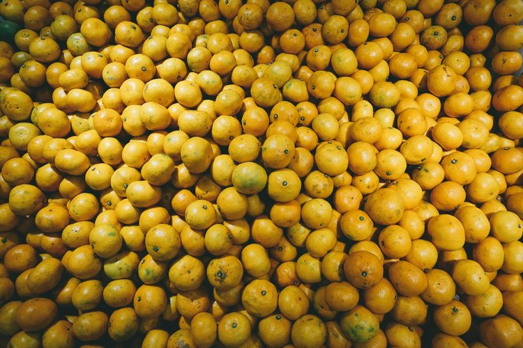 Full frame shot of orange fruits at market for sale