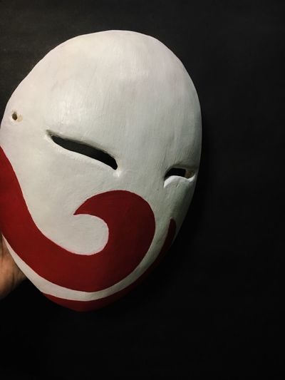 Red and white mask Japanese Masks Noh Paper Craft Paper Machè Mask Close-up No People Still Life Indoors  Studio Shot Art And Craft Black Background Human Representation Disguise Mask - Disguise Mask Creativity Craft Red
