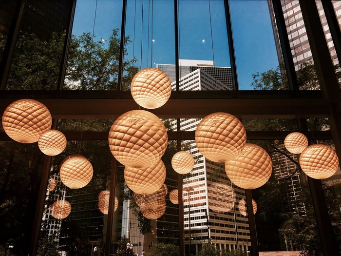 Low Angle View Hanging Lighting Equipment Lantern Architecture Built Structure No People Indoors  Day Sky Building Exterior Tree Chicago