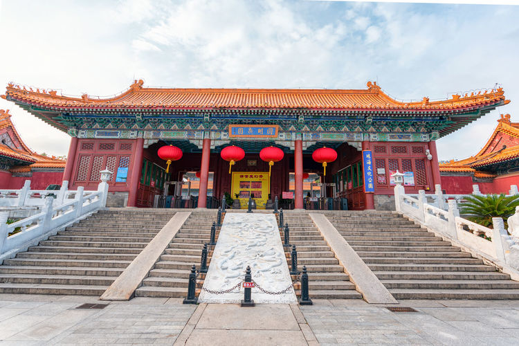 Yuanmingyuan Imperial Garden Zhuhai Architecture Belief Building Building Exterior Built Structure China Chinese Lantern Cloud - Sky Day One Person Outdoors Place Of Worship Real People Religion Roof Sky Spirituality Staircase Travel Destinations Yuanmingxinyuan