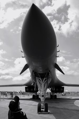 High tool of deterrence. Airplane Travel Airport Air Vehicle Sky Runway USAF Bomb Bomber B-1B B-1 Bomber Aviation Plane Blackandwhite Black And White Black & White Blackandwhite Photography Strategic War Freedom Peace Runway